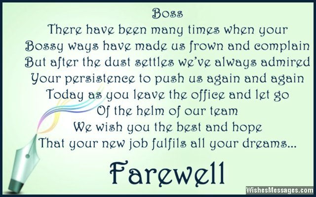 Farewell Messages For Boss Goodbye Quotes For Boss  WishesmessagesCom