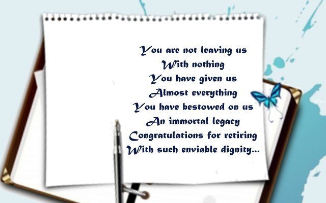 Touching poem for retirement greeting card to boss from colleagues