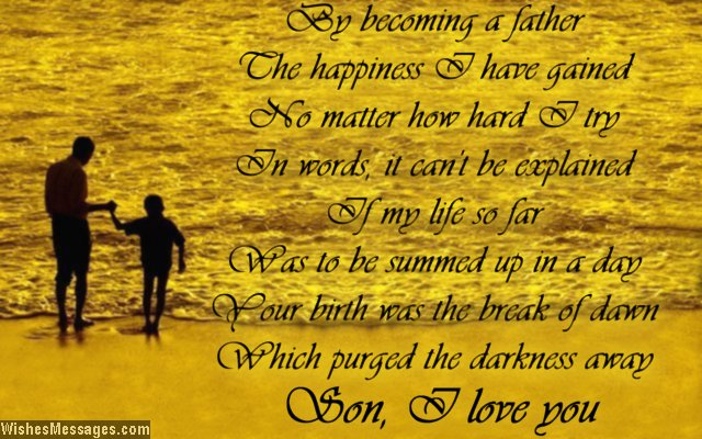 Beautiful I Love You poem to son from dad