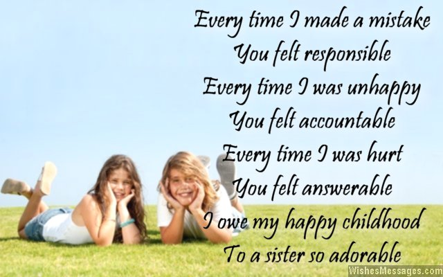 Beautiful thank you poem to sister from brother
