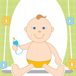 Cartoon of little baby on a swing