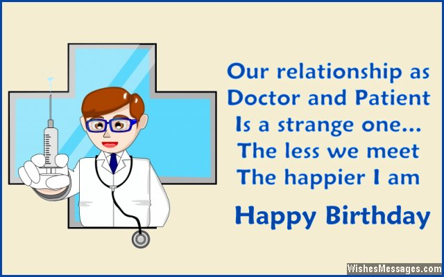 Funny birthday greeting card message for doctors
