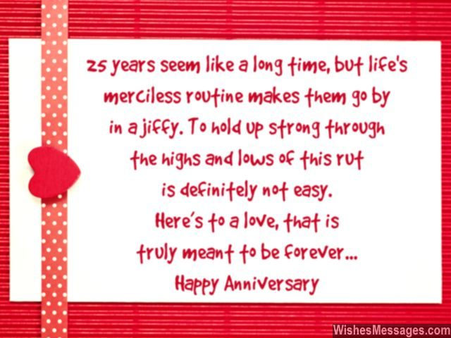 Happy 25th wedding anniversary greeting card wishes