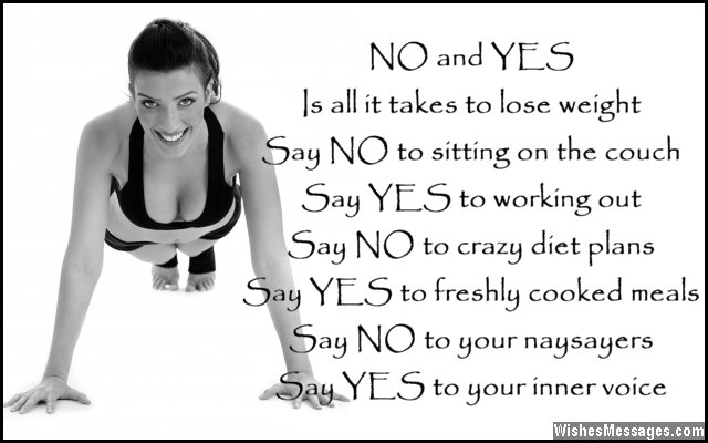 Inspirational quote about working out and losing weight