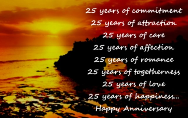 Silver Jubilee Wedding Anniversary Greeting Card Message