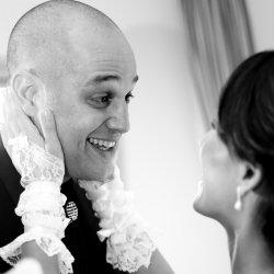 Smiling newlywed couple
