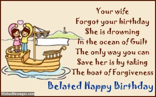 Belated birthday wishes for husband WishesMessages – Late Birthday Card Messages