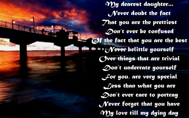 Sweet love poem to daughter from dad or mom