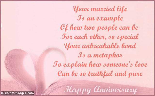 Beautiful wedding anniversary card poem