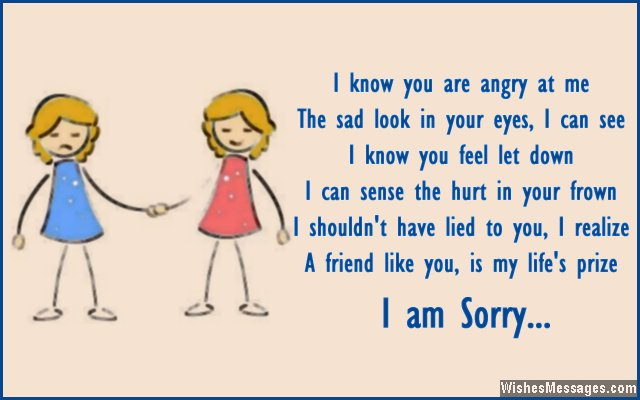 Cute apology message for friends