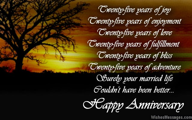 25th wedding anniversary quotes happy quotesgram for 25th wedding anniversary poems