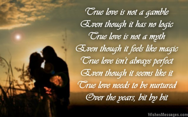 Romantic poem about true love for engagement card