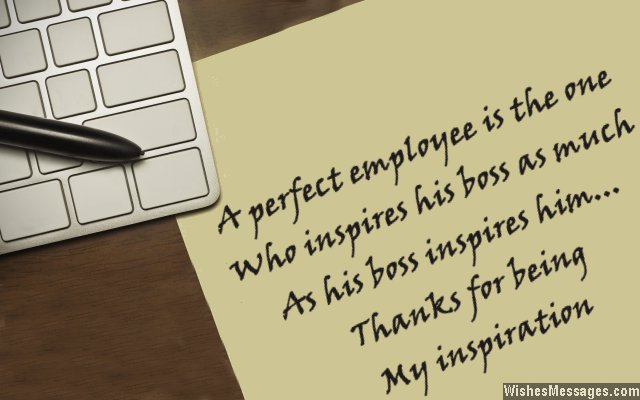 Thank you note from a boss to employee