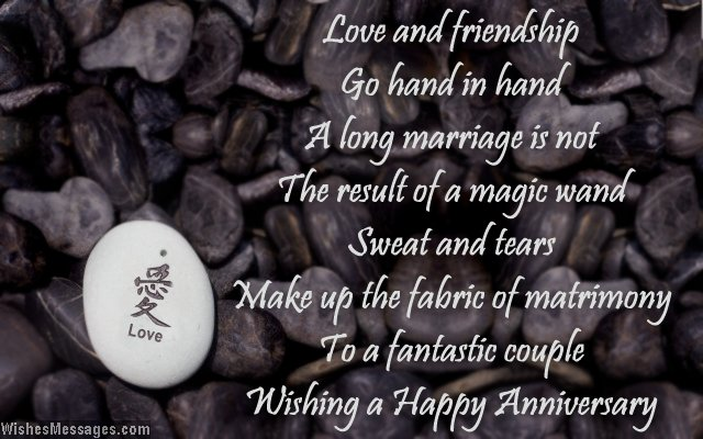 Wedding anniversary card poem about love and marriage