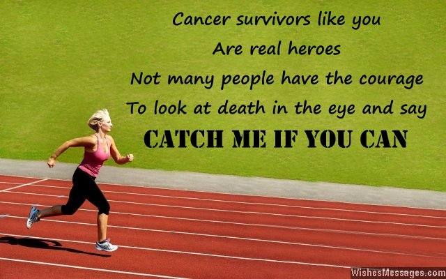 Woman running - inspirational message for cancer survivors