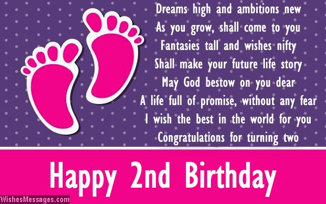 Nice 2nd Birthday Card Message For Baby