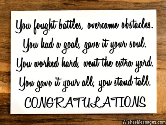 Congratulations quote for graduation achievement success or promotion