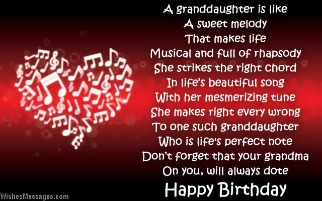 Beautiful birthday poem to granddaughter