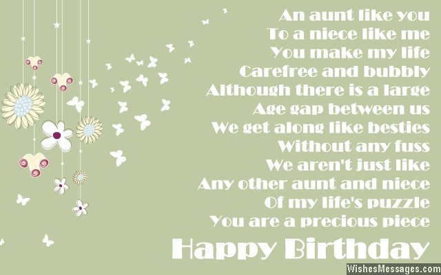 birthday poems for aunt  wishesmessages, Birthday card