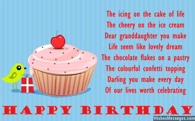 Birthday greeting card message for granddaughter