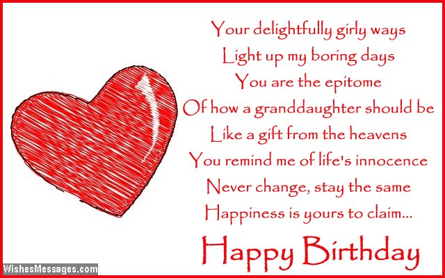 Cute birthday card poem for granddaughter