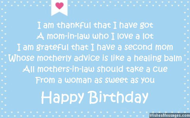 Birthday Poems For Mother In Law Wishesmessagescom