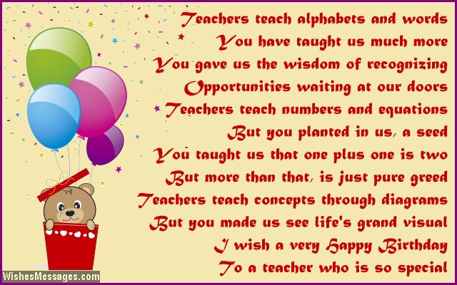 Cute happy birthday poem for a teacher