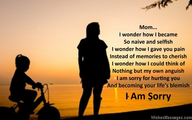 I am sorry card poem showing a mother and a daughter