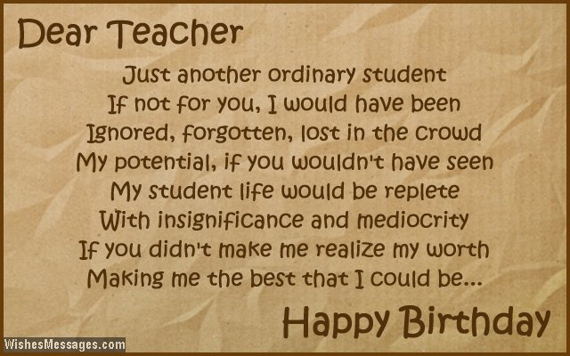 Inspirational birthday card poem for teacher