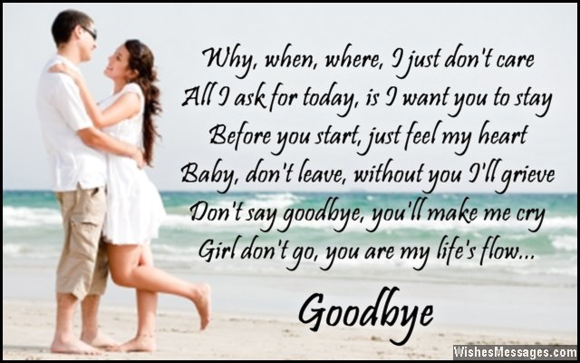Romantic Goodbye Poem For A Girl
