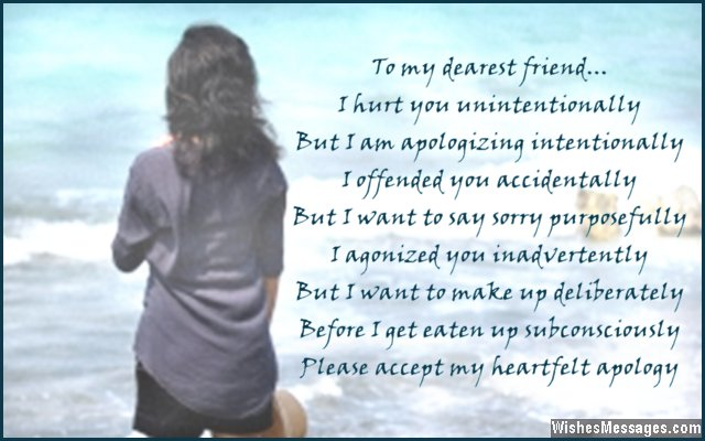 Cute apology poem to say sorry to friends