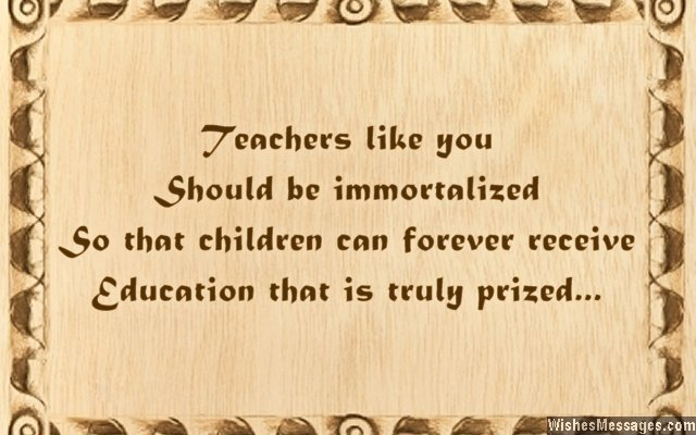 Motivational card greeting for teachers from parents
