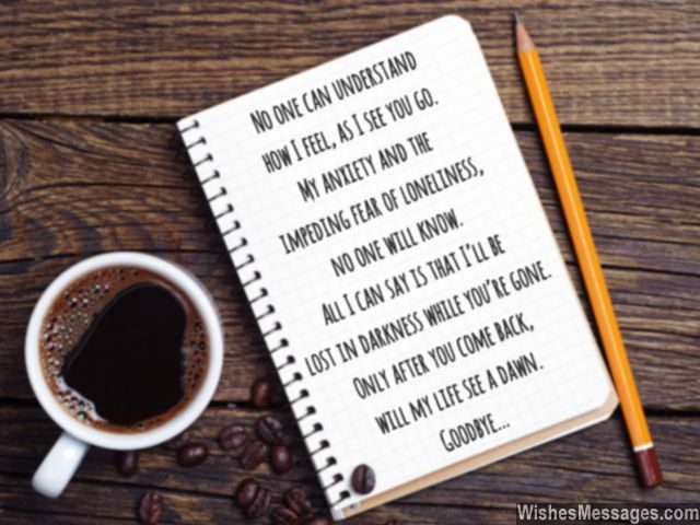 Short goodbye poem for him and her pencil coffee notepad