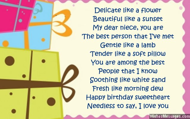 Sweet Birthday Card Poem For Niece