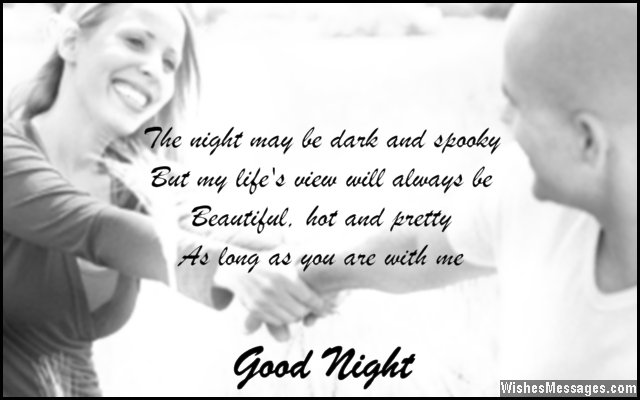 Sweet good night greeting from husband to wife