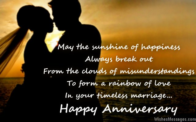 Beautiful wedding anniversary wishes for couples
