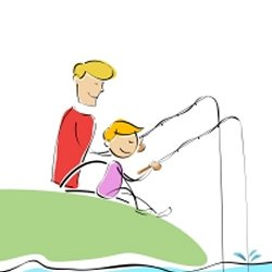 Father son fishing cartoon