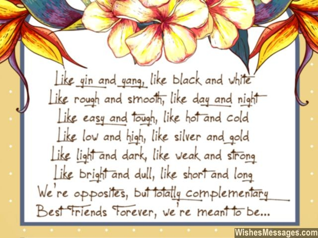 Friendship poem for best friend forever bff yin yang opposites