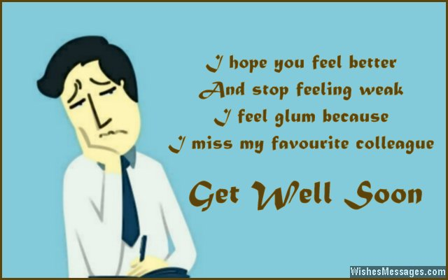 Get well soon card message for colleagues