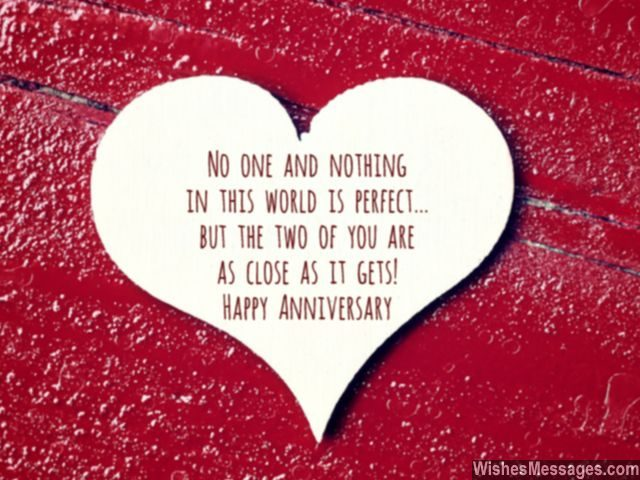Happy anniversary to perfect couple heart greeting card shape