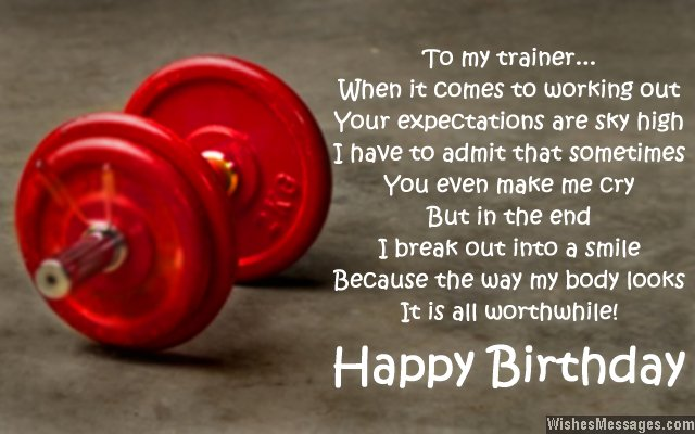 Inspirational thank you message for trainer's birthday card