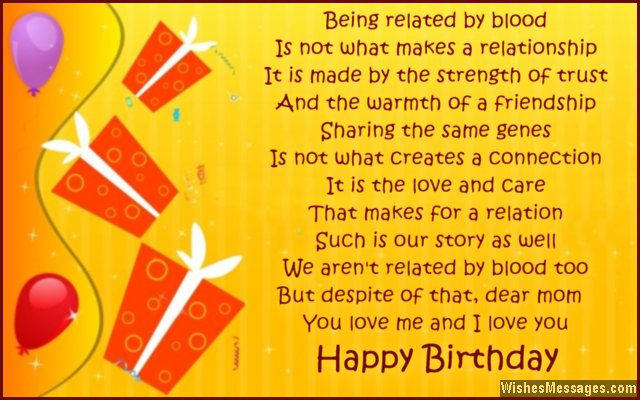 Sweet birthday greeting card for stepmom