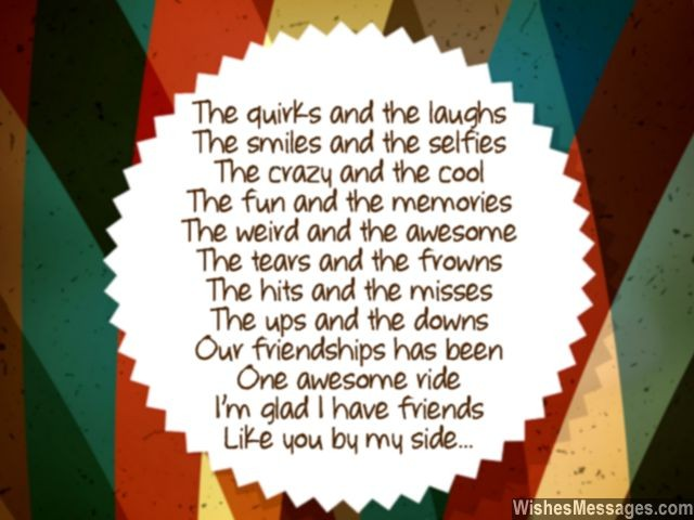 Sweet poem for friends friendships day greeting card