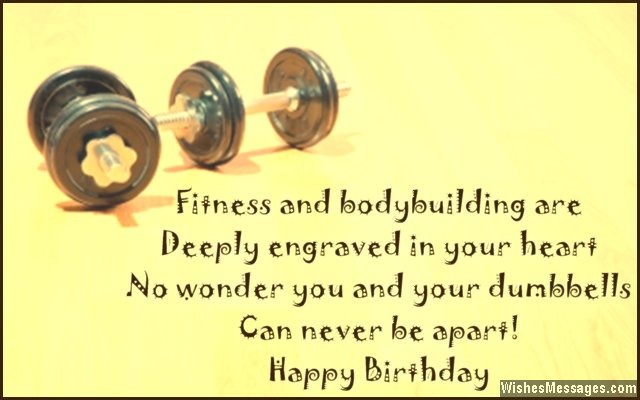 Birthday greeting card message for bodybuilders and fitness freaks