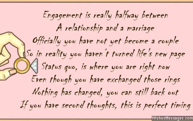 Funny engagement card poem for couples
