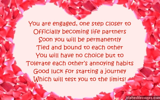 Humorous engagement card poem for couples