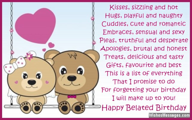 Sweet Belated Birthday Greeting Card Message To Husband From Wife
