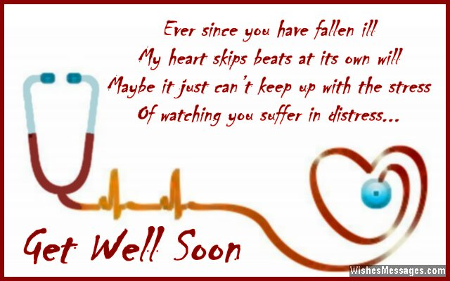 Sweet get well soon message for boyfriend