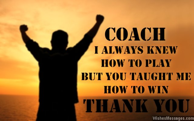 Thank you note for coaches from players