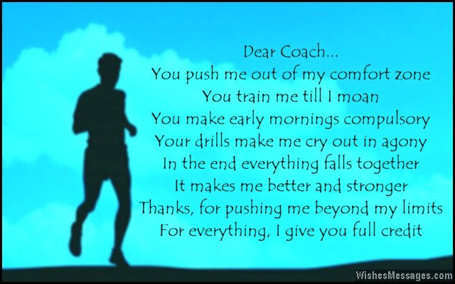 Words of gratitude and thanks for a coach